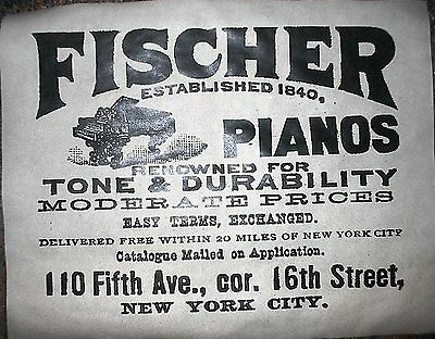 "(236) VINTAGE REPRINT ADVERT FISCHER PIANOS NEW YORK CITY 1890 11""x14"""