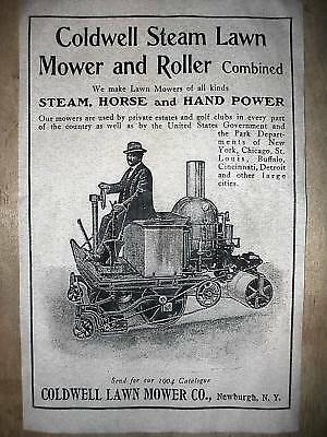 "(181) VINTAGE REPRINT ADVERT COLDWELL STEAM LAWN MOWER 1904 11""x17"""