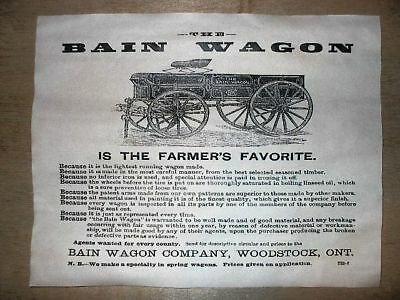 "(287) VINTAGE REPRINT ADVERT BAIN FARM WAGON WOODSTOCK, ONT. 1885 AD 11""x14"""