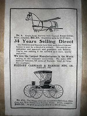 "(182) VINTAGE REPRINT ADVERT ELKHART 1907 CARRIAGE & HARNESS 11""x17"""