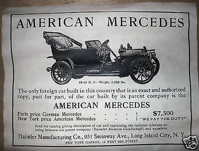 "(265) VINTAGE REPRINT ADVERT AMERICAN MERCEDES OLD AUTO 1906 11""x14"""