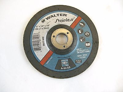 """Grinder Disc Walter Stainless 6""""x 1/4""""x 7/8"""""""