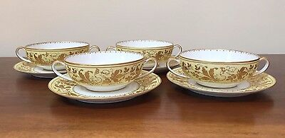 Le Tallec Porcelain Cream Cup & Saucer Set with GOLD LEAVES ~ Set of 4