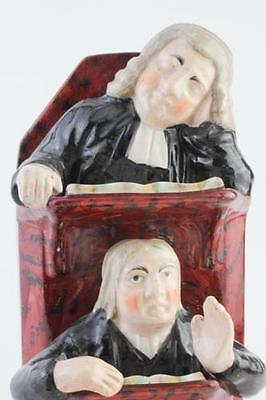 ANTIQUE ENGLISH STAFFORDSHIRE POTTERY VICAR AND MOSES IN PULPIT GROUP c1860