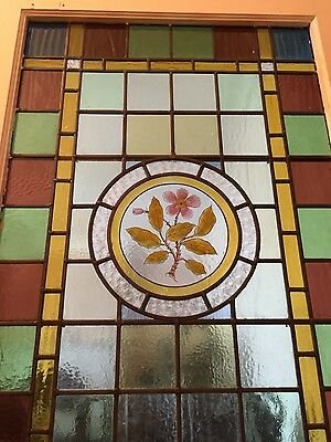 Beautiful Antique stained glass hand painted panel 630mm x 980mm approx.