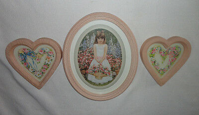 Home Interiors 3pc Set '' Oval Girl with Flowers & 2/ Hearts '' Pictures