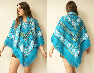 1970's Vintage Mexican Woven Hippie Fringed Bohemian Poncho Cape