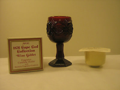 Vintage AVON 1876 Cape Cod Collection Goblet with Bayberry Frangrance Candlette