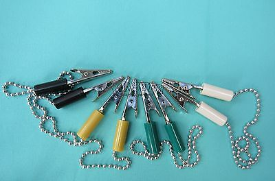 "Dental Bib Clip Holder 4 Pcs Assorted Colors Metal Ball Chain Type 15"" Napkin"
