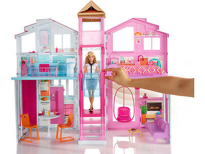 mattel barbie 3 etagen stadthaus spielhaus aufklappbar puppe m dchen dly32 neu eur 89 90. Black Bedroom Furniture Sets. Home Design Ideas