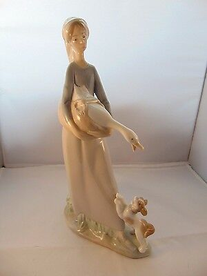 Lladro Porcelain Girl With Goose & Dog 01004866, Retired 1985, Still Awesome