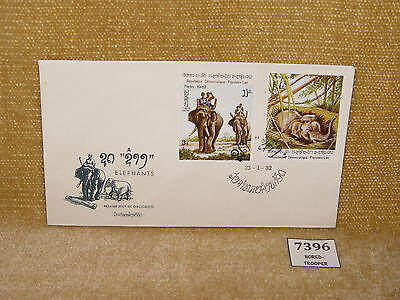 LAOS - POSTE LAO ELEPHANTS 2 VALUE THEMATIC FIRST DAY COVER 1982  FDC *CHEAP 99p