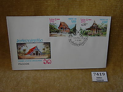 LAOS POSTES LAO PAGODAS PAGODE FIRST DAY COVER 2 VALUES FDC 1982 CHEAP 99p COVER