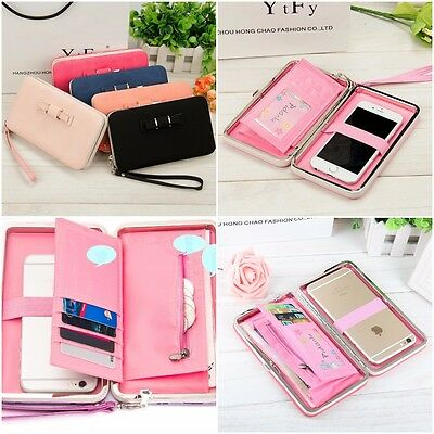 Women Bowknot Wallet Long Purse Phone Card Holder Clutch Large Pocket Capacity