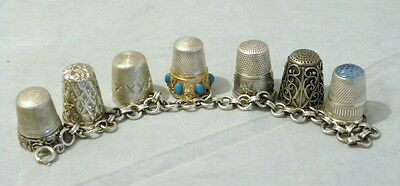 Vintage Sterling Silver 7 Real Sewing Thimbles Charm Style Bracelet
