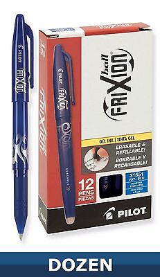 12 Pilot FriXion Ball Erasable Gel Ink Pens Fine Point 0.7MM BLUE (Dozen)