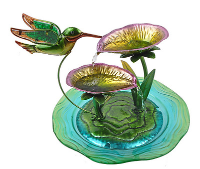 Water Fountain Indoor Tabletop Hand Painted Hummingbird Glass Home Decor New