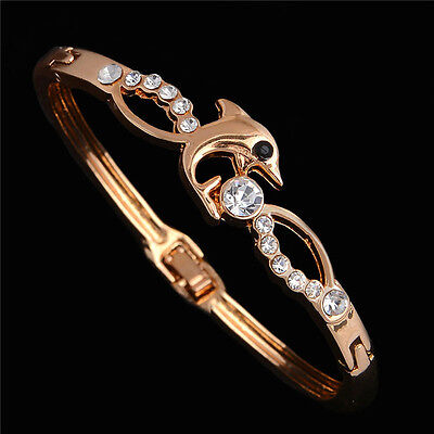 New Luxury Gold Plated Austrian Crystal Dolphin Bangle Bracelet Gift Jewellery