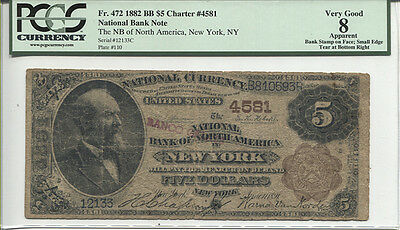 $5 1882 Brown Back The National Bank of North America New York Ch#4581 Fr#472
