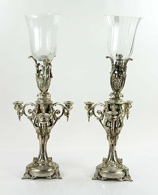 Pair of 19th C. French Silvered Bronze Candelabra
