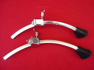 """1980s VINTAGE LUDWIG 2 BASS DRUM SPUR MOUNT BRACKETS + 2 LEGS  1/2"""" MADE IN USA"""