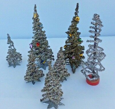 RARE OLD Bottle Brush Type Christmas Trees COILED ALUMINUM Lot of 7