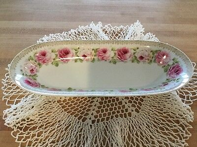 Vintage Celery dish with pink roses by Zeh Scherzer ZS&Co.