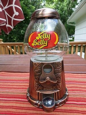 """Jelly Belly Candy Dispenser Glass Globe Antique Copper Finish 11"""" Tall - Look!!"""