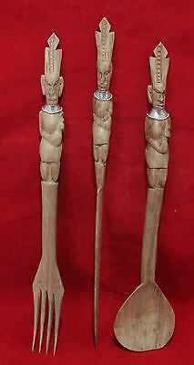 African Tanzanian Carved Wood Utensils - Circa 1960s - Fork, Knife. Spoon