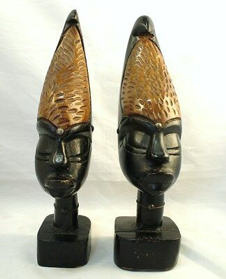 1 Pair African Tribal Carvings - Wood Head Busts - Women With Curled Top Hair