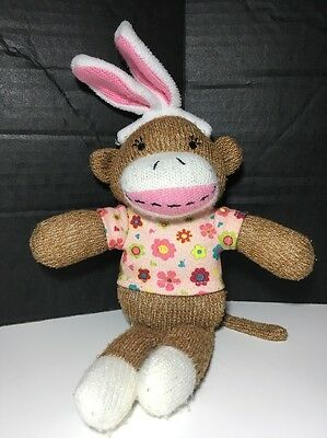 Dan Dee Collector's Choice Sock Monkey Bunny w/ Pink Floral T-Shirt 2013
