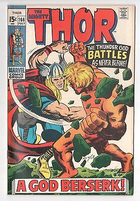 "Thor #166 (1962 Series) 2nd Full Adam Warlock (as ""Him"") Marvel July 1969 FN"