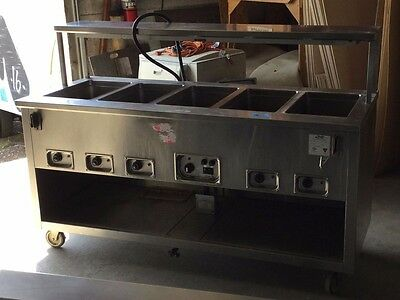 ALADDIN TEMP-RITE 5 Well  MODEL J712B electric steam table with Heat Lamp LooK