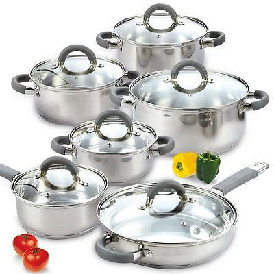 Cook N Home 12-Piece Stainless Steel Pots and Pans Cooking Set Glass Lids Oven