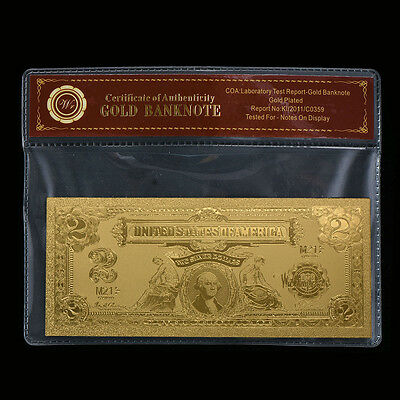 WR Gold Old US Banknote 1899 $2 Two Dollar Silver Certificate Note In Sleeve