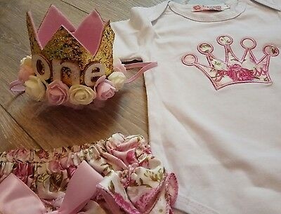 baby girl 1st first birthday outfit crown photo shoot cake smash frilly pants