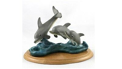 Nautical Kingdom Collectable Playful Dolphins Figurine on Base NEW