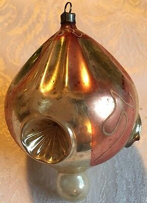 Amazing Triple Indent Hot Air Balloon/UFO Mercury Glass Pink Ornament (Poland)