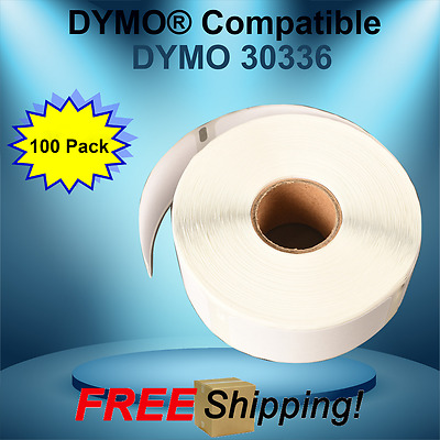 Dymo® Compatible 30336 Twin TURBO Duo 100 Rolls White Rectangular Shaped Labels