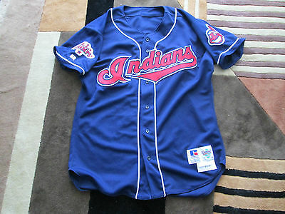 1998 MLB Geronimo Berroa Cleveland Indians Game worn Jersey - A.L. Champs patch