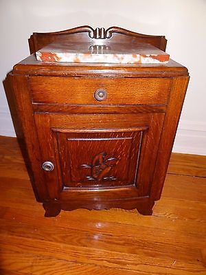 Antique nightstand with marble top block