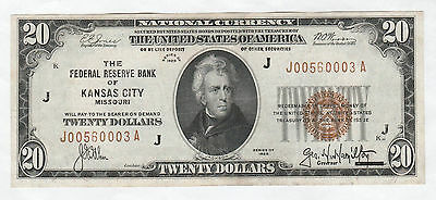 Circulated 1929 $20 National Currency Note--Federal Reserve Bank of Kansas City