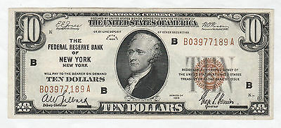 Circulated 1929 $10 National Currency Note--Federal Reserve Bank of New York