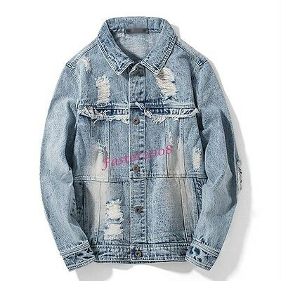 Retro Fashion Mens Denim Distressed Ripped Coats Casual Jean Jackets Outerwear
