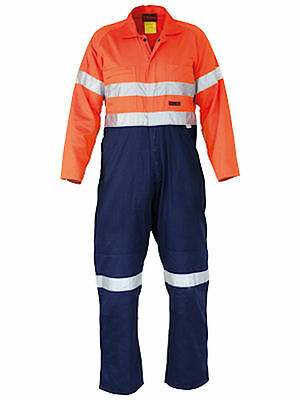 Bisley BC8001 Orange Navy Indura Fire Retardant Coverall 3M Reflective Size 92S
