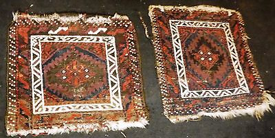 Pair of Antique Balouch or Baluch Bag Face 1 x 1 ft.