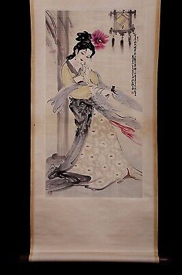 Beautiful Chinese Handwork Figure Old Scroll Painting Collection Mark KK356