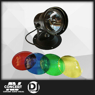 PAR36 PINSPOT KIT with LAMP and 4 x COLOUR GELS For MIRRORBALL, PARTY, DJ