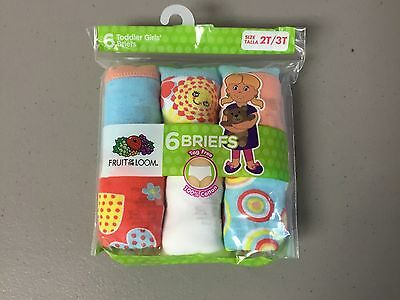 NWT 6 Toddler Girl's Fruit Of The Loom Cotton Briefs Size 2T / 3T Multi #644Z