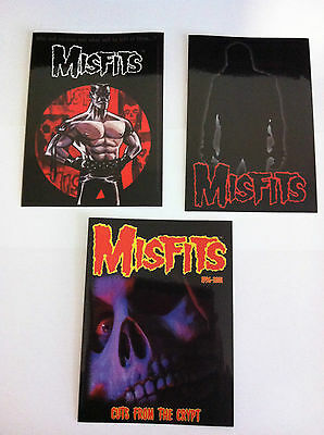 THE MISFITS 3 Pack of Stickers Cartoon,Silhouette & Cuts Crypt NEW Official Rare